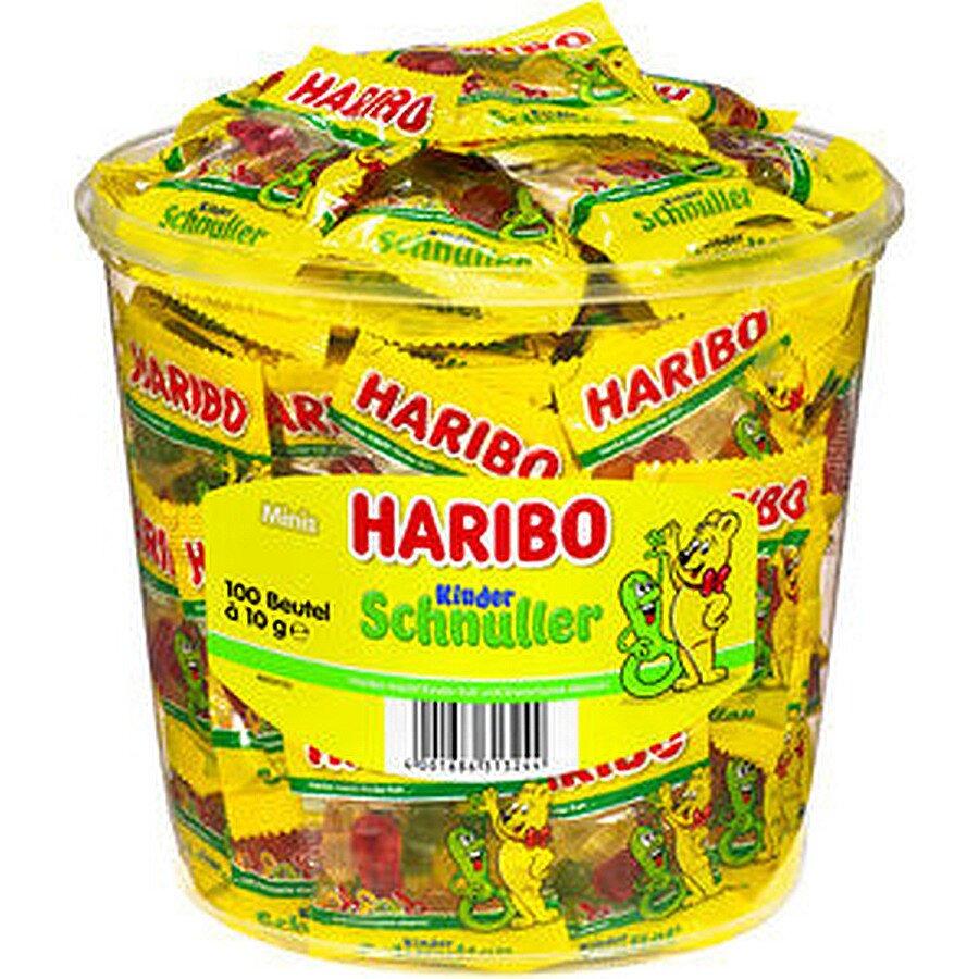 Haribo Schnuller Minibeutel 1000g in PP-Dose 100 Btl