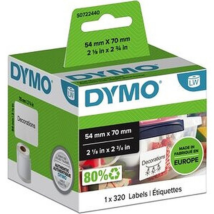 Dymo Diskettenetikett Papier Rolle weiß 54 x 70 mm 1x 320St