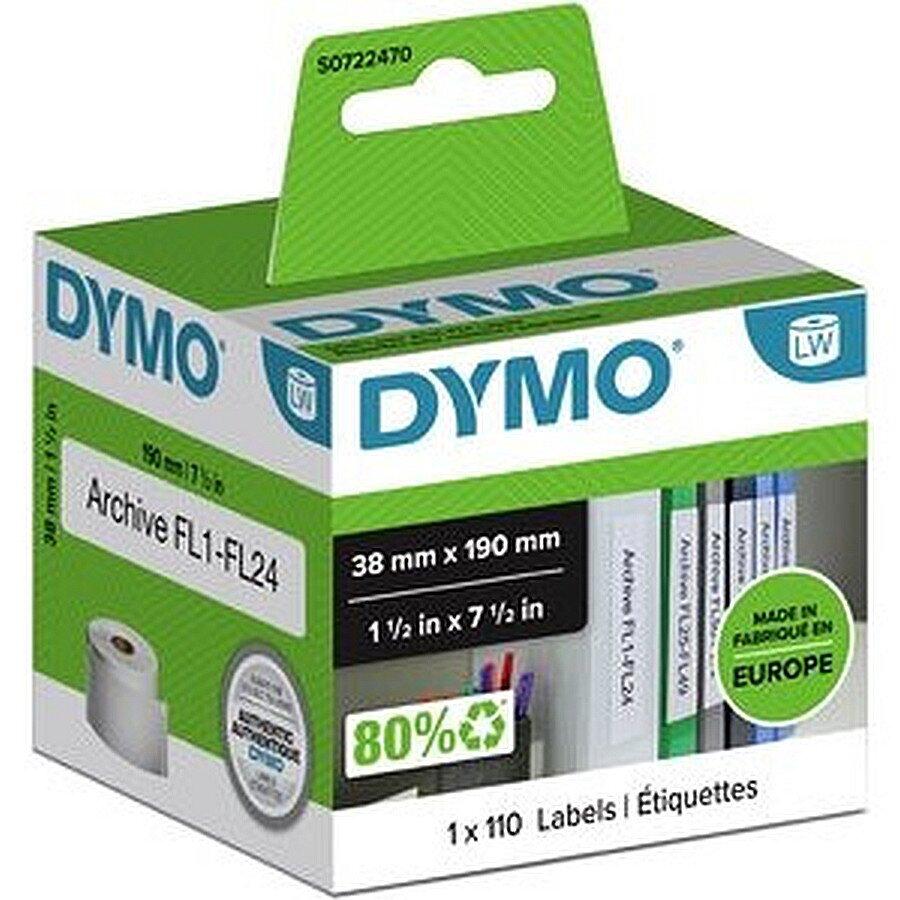 Dymo Ordneretiketten, Papier, Rolle weiß 190 x 38mm 110 Etiketten