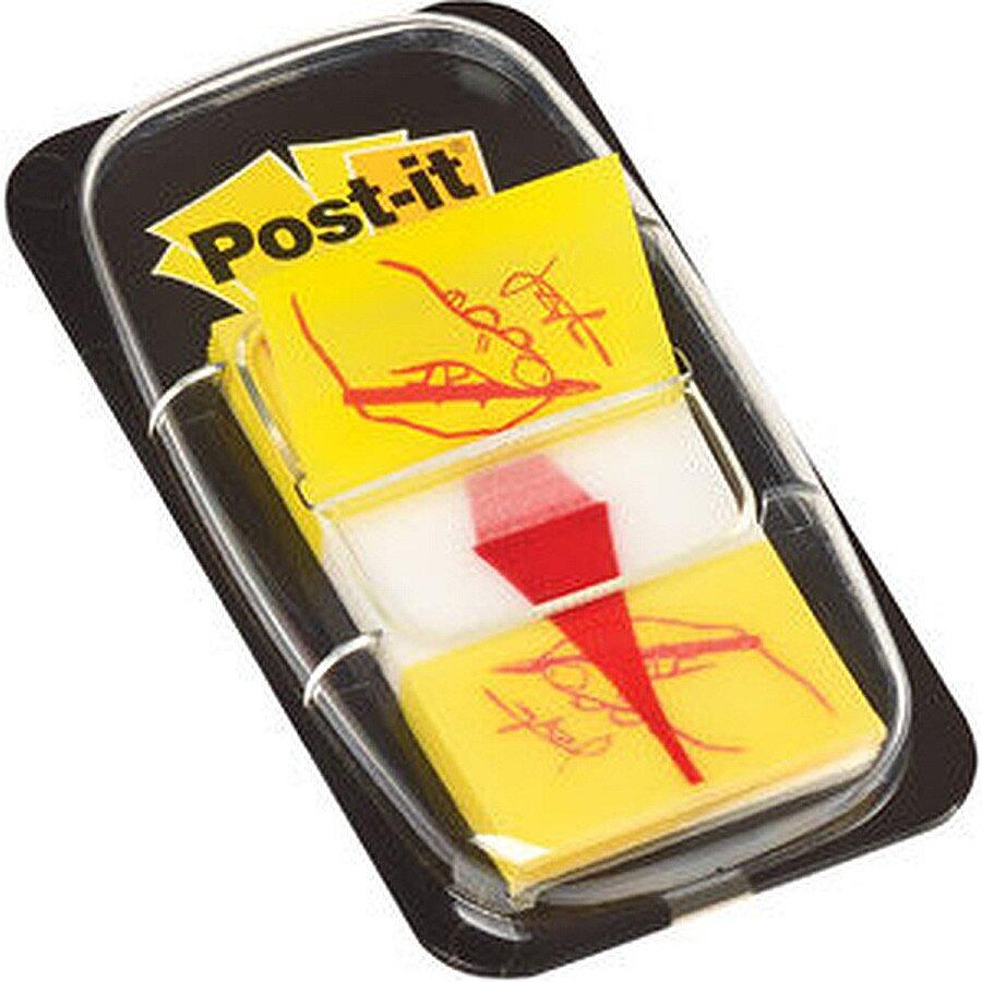 Post-it Haftstreifen mit Unterschrift gelb 25,4x43,2mm 50 Blatt